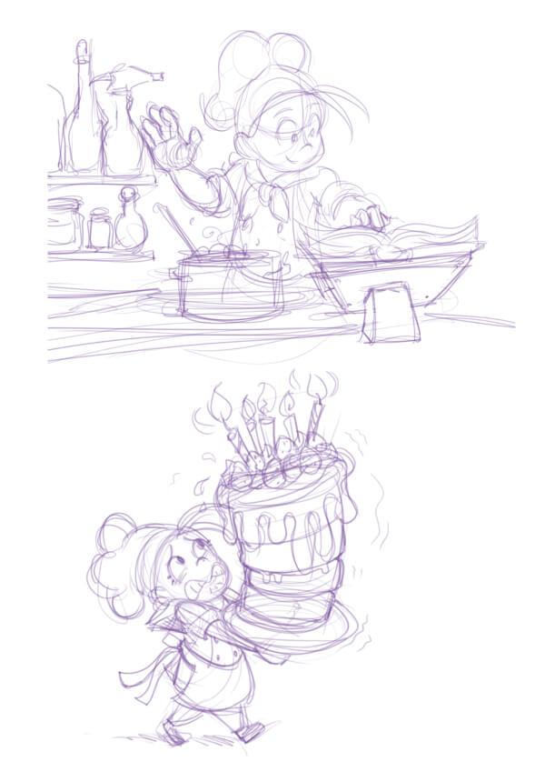 Sketches de idea de personaje