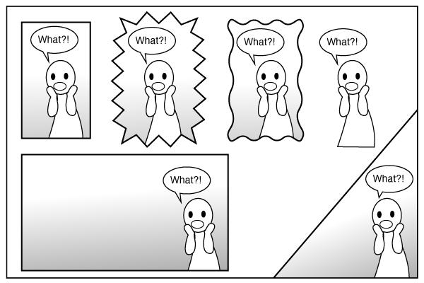 Ejemplos de diferentes tipos de paneles cómicos