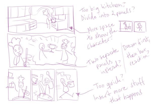Acciones dibujadas con figuras de palo