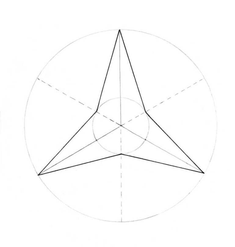 The three-pointed star outlined with black ink