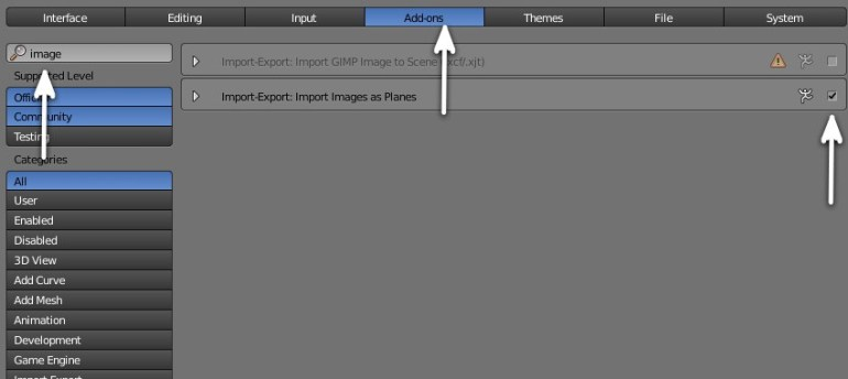 Activate Import Images as Planes Add-on
