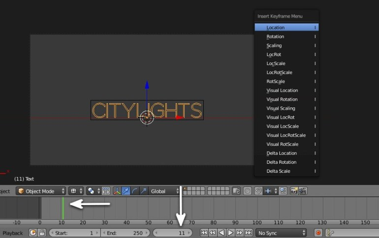 Add keyframe to the text