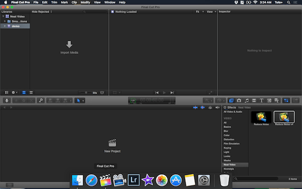 Reduce Noise v4 in the Effects panel of Final Cut Pro X