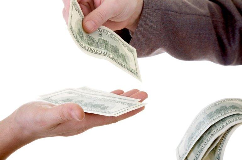 Handing over bills
