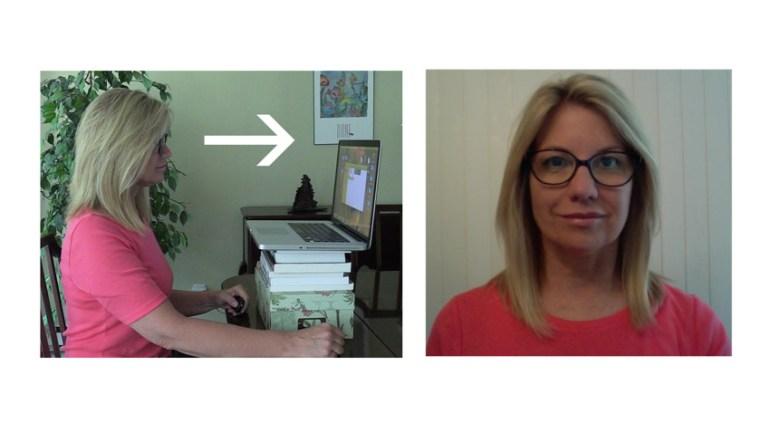 Laptop webcam at eye level