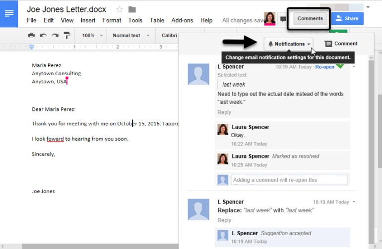 How to change notifications in your shared Google doc