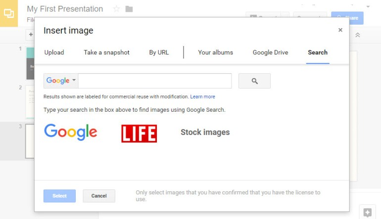 The Insert image panel in Google Slides
