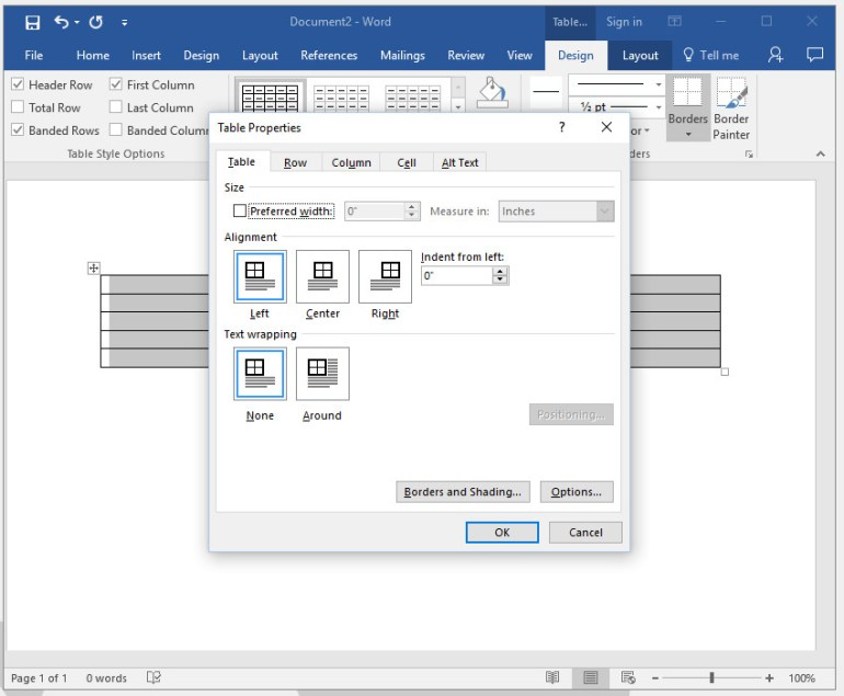 Adjust table properties in Word