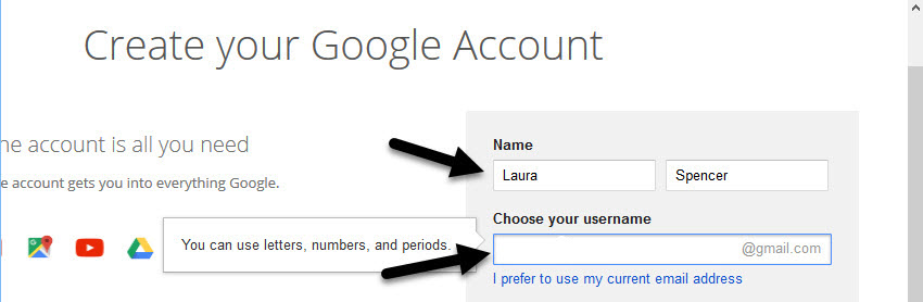 Name and username fields