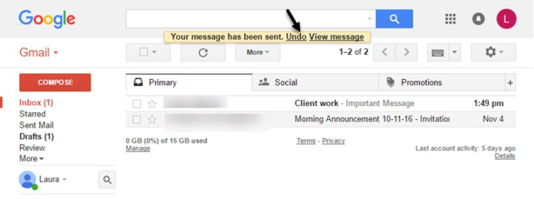 Gmail tutorials--undounsend message