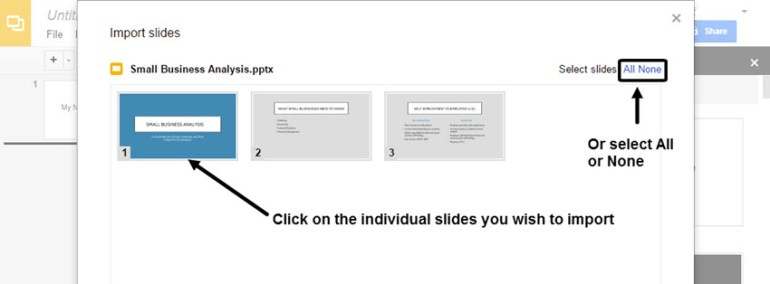 Google Slides Import PowerPoint slides Thumbnails