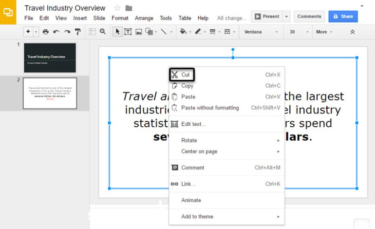 Google Slides Presentation Sub-menu
