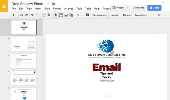 Google Slides menjatuhkan efek teks