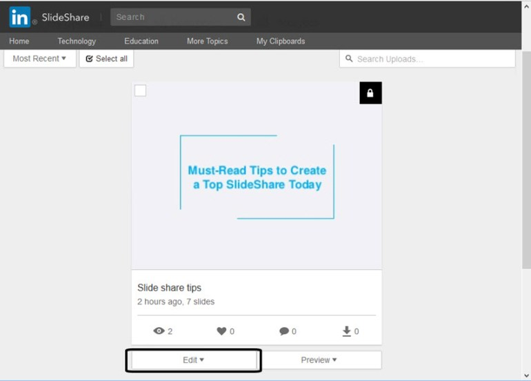 My Uploads Tab in SlideShare