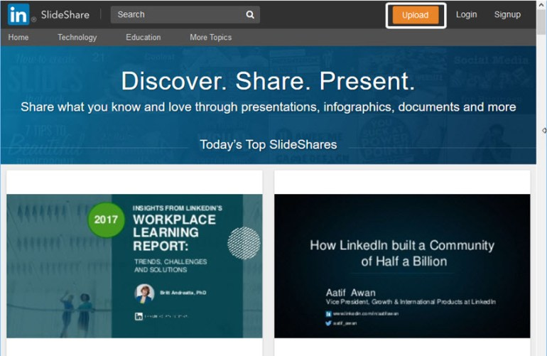 Main SlideShare Screen