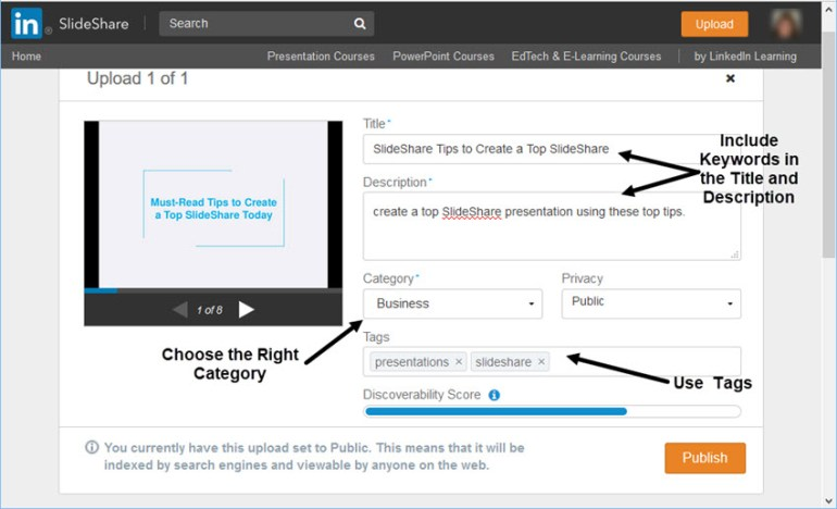SlideShare Upload Screen