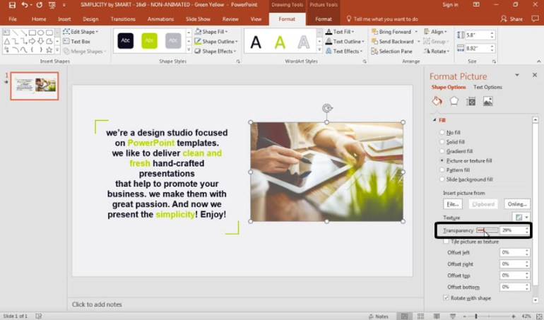 Make a picture transparent in PowerPoint