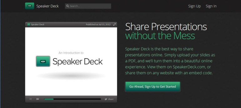 Speaker Deck online presentation software tool