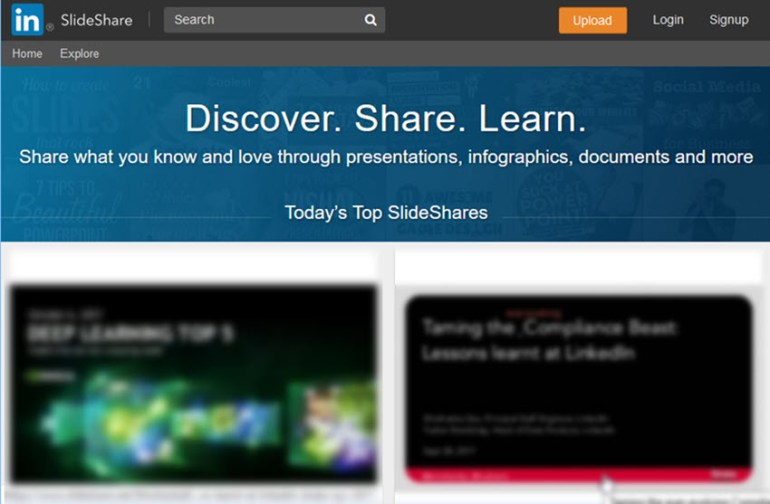 LinkedIn SlideShare presentation tool