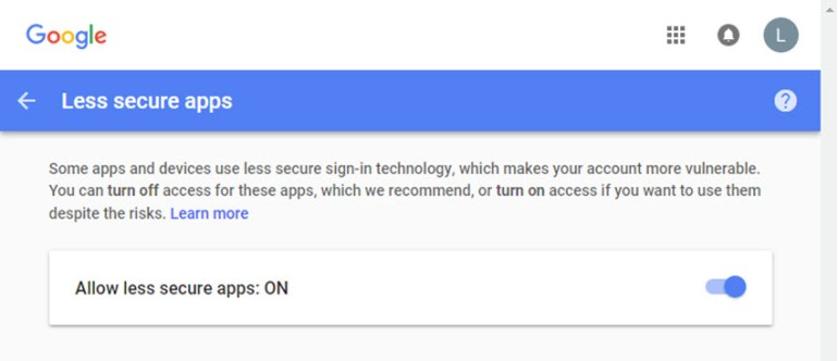 Allow less secure apps Google access