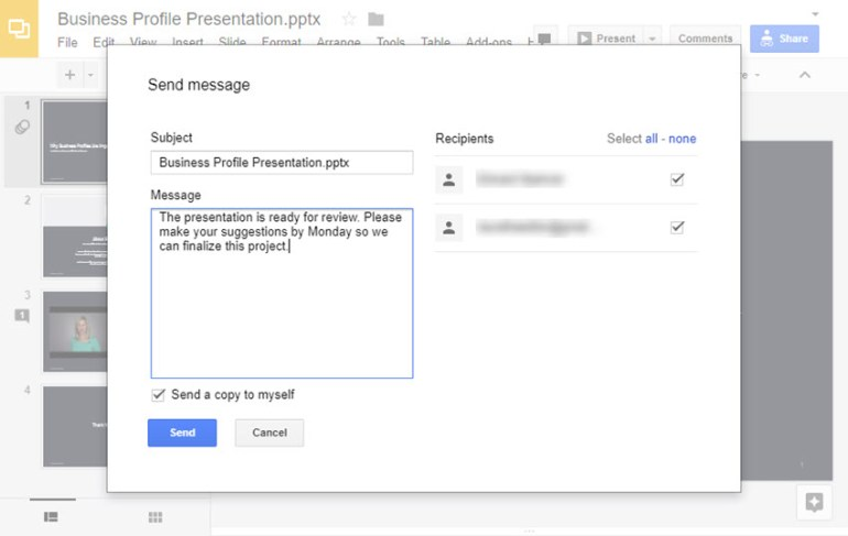 Send a message to online presentation collaborators