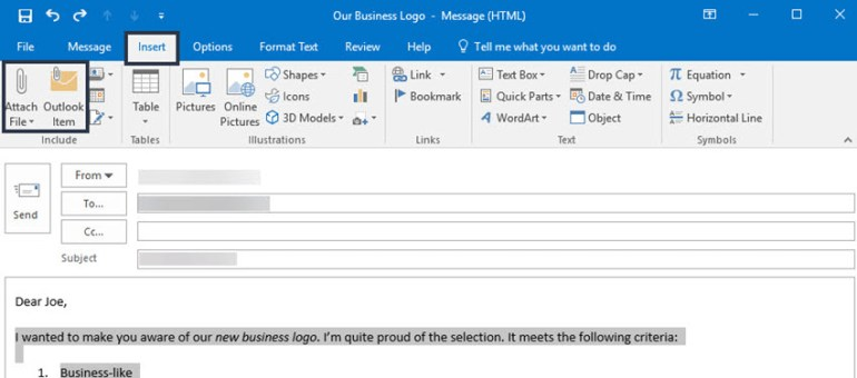 Attach File and Outlook Item icons on the Insert tab in Microsoft Outlook