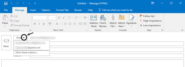 From field in MS Outlook header