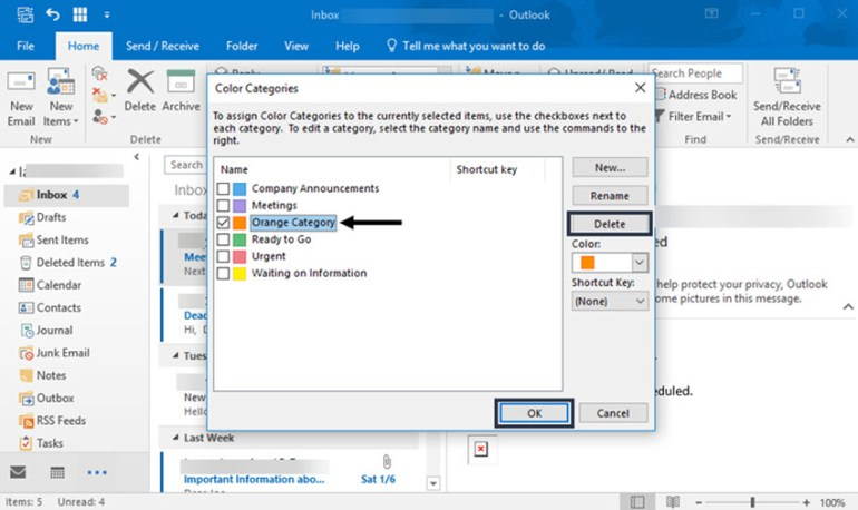 How to delete an unused message category in Outlook
