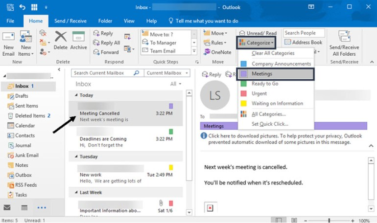 Removing a Category from an email in Outlook