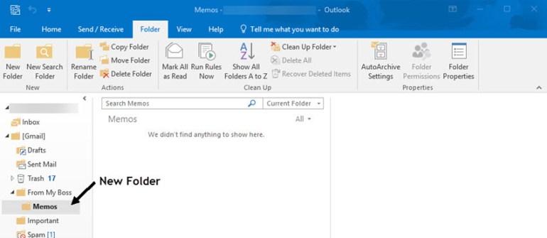 Outlook inbox showing new added folder