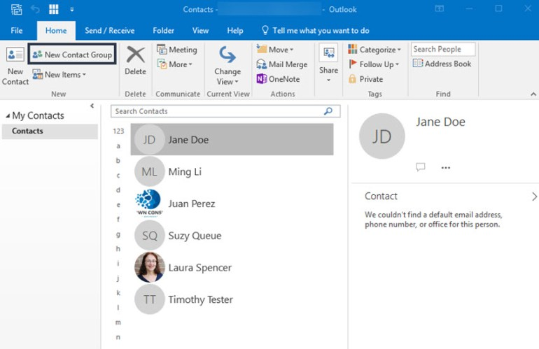 People window in Outlook