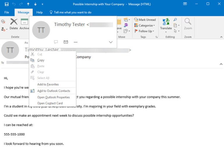 Adding a contact to MS Outlook