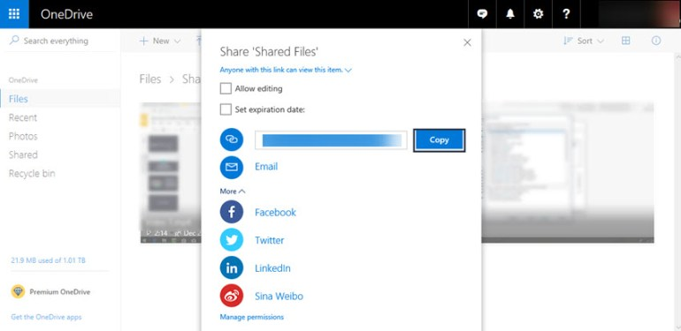 Getting a sharing link from OneDrive