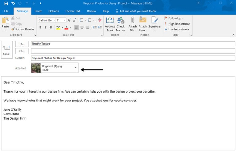 Outlook email with attached file