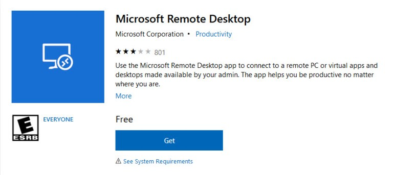 Microsoft Remote Desktop software