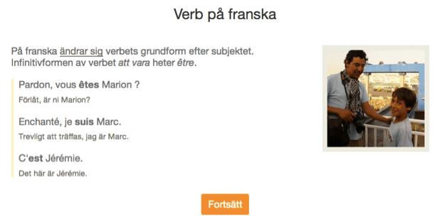 Un esempio di spiegazioni aggiuntive per la coniugazione dei verbi nel corso di francese per madrelingua svedesi.