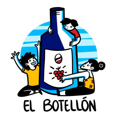 happy people hugging giant wine bottle