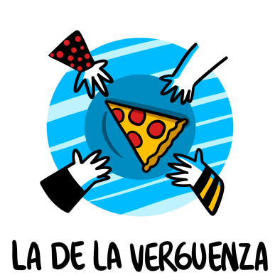 four hands reaching for one slice of pizza