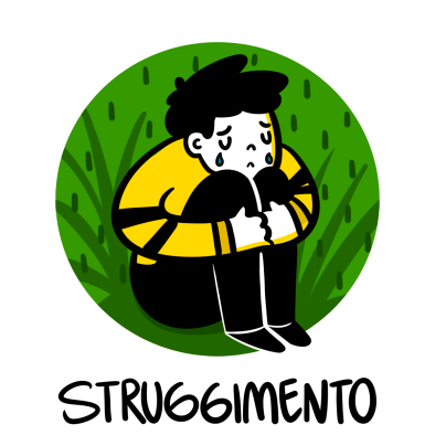 Illustration of a very miserable boy