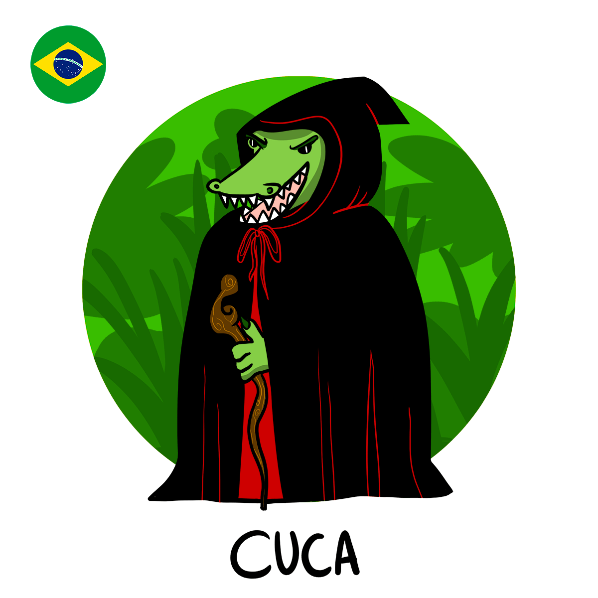Cuca, illustration of crocodile woman