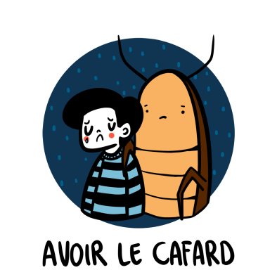 illustration sad French man and cockroach