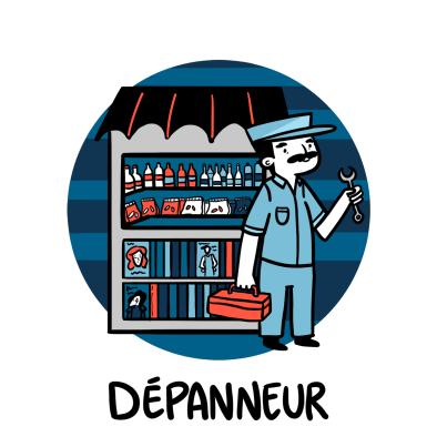 Illustration Mechanic and convenient store