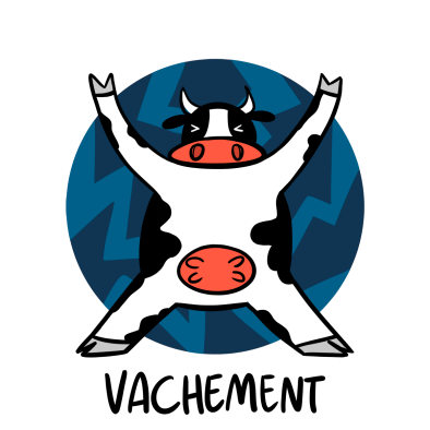 illustrated cow; vachement
