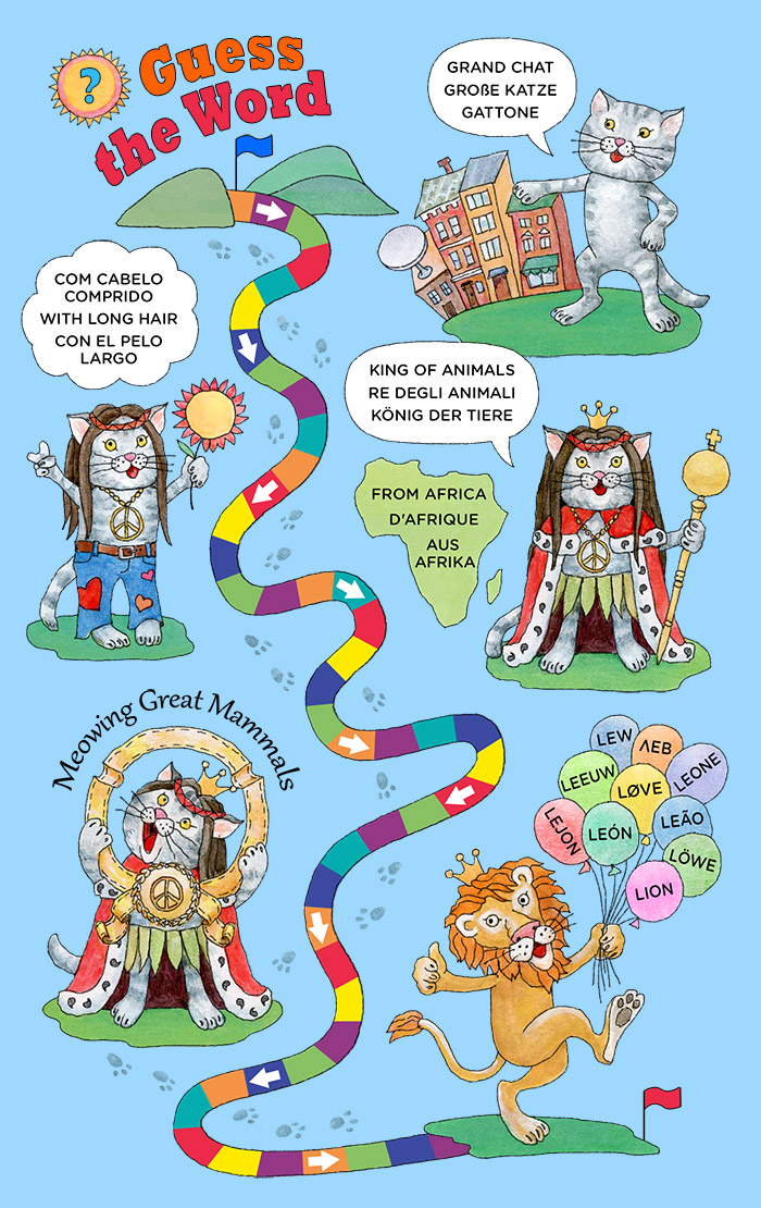 guess the word infographic with cats offering clues that the word is 'lion' how to memorize vocabulary
