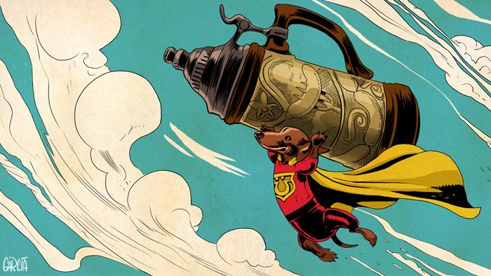 Super Dachshund Flying with Stein