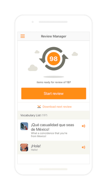 Babbel's Review Manager lets you review vocabulary and grammar to lock it into your long-term memory