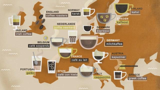 Tutti (o quasi) i modi in cui viene bevuto il caffè in Europa