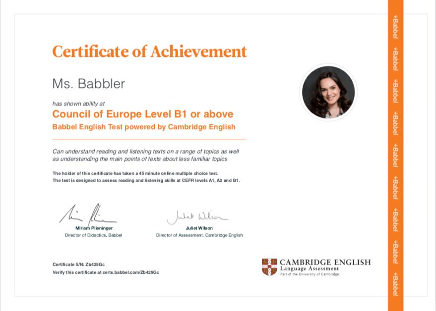Come funziona Babbel? Certificazione Cambridge.