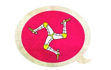 Drapeau de l'île de Mann, emblème du mannois rattaché à la famille des langues celtiques