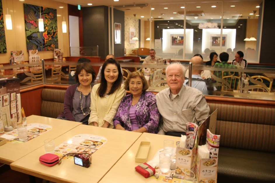 Tsuchino, Mike and family at dinner war brides